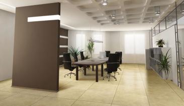 Integración de pavimento en sala de juntas
